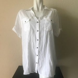jms Women Blouse Short sleeve 100% Cotton Size 2X